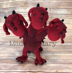 Ravelry: Three-Headed Dragon Amigurumi pattern by Mary Smith