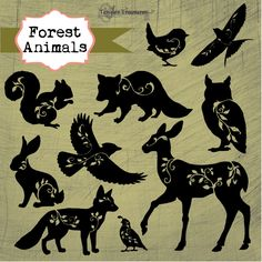 Forest Animals is a set of gorgeous forest creatures with filigree vines and leaves. They are delivered as separate .png files with transparent backgrounds, ready to be incorporated into