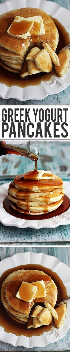 Easy and fluffy healthy greek yogurt pancakes you can whip up in a hurry! Easy and fluffy healthy greek yogurt pancakes you can whip up in a hurry! Breakfast Desayunos, Breakfast Dishes, Breakfast Recipes, Breakfast Ideas, Pancake Recipes, Greek Yogurt Pancakes, Greek Yoghurt, Yogurt Muffins, Brunch Recipes