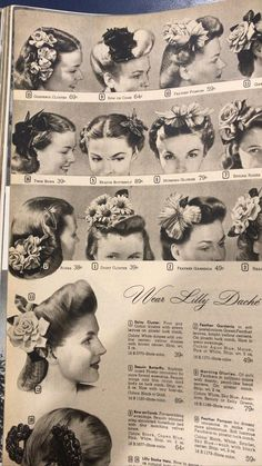 1940s Hairstyles, Wedding Hairstyles, Cool Hairstyles, Fashion History, 1940's Fashion, Easy And Beautiful Hairstyles, Vintage Hair Accessories, Pin Up Hair, Beauty Shop