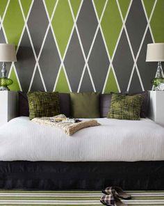 Argyle Headboard Wall | Benjamin Moore  colors 406 Huntington green and HC-167 amherst gray