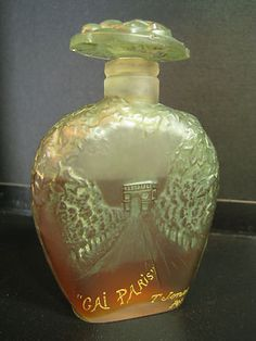 RARE Viard Figural Art Glass Antique Perfume Bottle GAI Paris By T. Jones