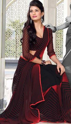 Get Latest Beautiful Indian Black Georgette #PrintedSaree  #Price INR-  1270 Link- http://alturl.com/hpq4k