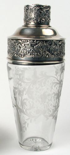 American Chatillon Co. Sterling silver and engraved glass martini shaker, c.1900.