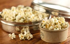 BLUE CHEESE HERB POPCORN  Spiked with fresh rosemary and parsley and piquant blue cheese, this fancy game day popcorn snack won't last long.