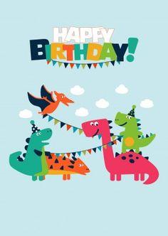 kleine bunte drachen suess happy birthday motiv auf blauen himmel