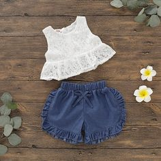 Baby Floral Sleeveless Top and Denim Shorts Kids Dress Wear, Kids Gown, Kids Outfits Girls, Girls Fashion Clothes, Toddler Girl Dresses, Baby Girl Fashion, Baby Outfits, Boy Clothing, Toddler Fashion