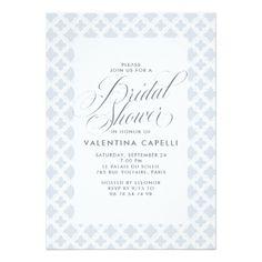 Portofino Blue and Cream Trellis Bridal Shower Card - simple clear clean design style unique diy