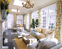 The windows in this room would coordinate well with the rest of our house. Living Photos Great Room Additions Design Ideas, Pictures, Remodel, and Decor - page 15 Sunroom Curtains, Cool Curtains, Blue Curtains, Sunroom Dining, Sunroom Windows, Kitchen Dinning, Curtain Fabric, Living Room Designs, Living Spaces