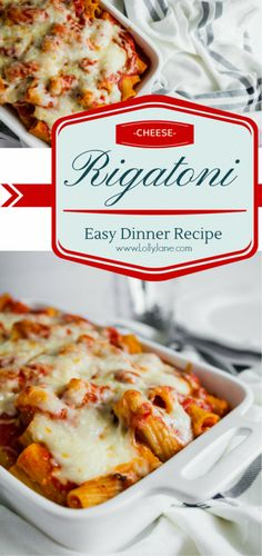Hearty baked easy cheese rigatoni recipe, so good! Easy dinner idea, great family recipe! You