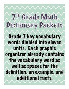 This product is divided into 9 math dictionary units to be used throughout the entire school year with your graders. Units Data Prediction and Linear Exponents and Geometric Graphing Graphs and Measurement and Multiste. Math Strategies, 7th Grade Math, Integers, Vocabulary Words, Graphic Organizers, Fun Math, Teaching Math, Middle School, How To Apply