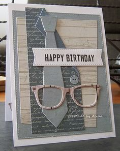 card for men - MFT sut and tie die set - ½  a suit - glasses - spectacle - Made by Alina: Happy Birthday