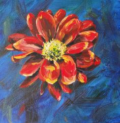 Red Flower Original Acrylic Painting on Box Canvas OOAK £30.00