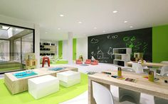 Minimalist Kindergarten Design with Modern Architecture and Interior: Vivacious Bright Modular Kindergarten Studio With Interior Design Ideas Kindergarten Interior, Kindergarten Design, Kindergarten Classroom, Daycare Design, Playroom Design, Education Architecture, Interior Architecture, Modern Classroom, Learning Spaces