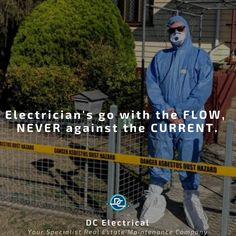 True story!⠀ This is one of our awesome sparkie's fully ready to get stuck into some electrical work - it just happens to be a place made with asbestos materials.⠀ He didn't sign up to do this when he decided to become an electrician - but he did sign up to do what it takes to get the job done.⠀ DC Electrical - going with the flow! Electrical Work, What It Takes, Get The Job, Conditioning, Brisbane, True Stories, Flow, Sign, Shit Happens
