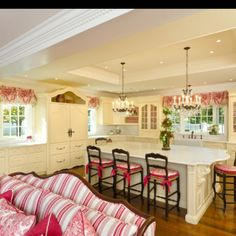 pinterest french country decor | French-country style. Raspberry toile with stripes | Kitchens