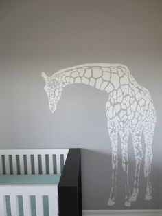 Giraffe decal. Love this looking over baby