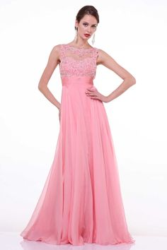 Prom Gown with Decorated Bodice CDR2002 Full Length, A-Line Prom Dress, Round Neckline, Sleeveless, Unique Decorated Top, Solid Color Skirt, Zipper Back Closure. https://www.smcfashion.com/wholesale-prom-dresses/prom-gown-cdr2002