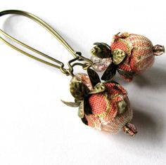 "Fabric Earrings Beaded Jewelry ""WILD ROSE"" rose and pink. via Etsy."