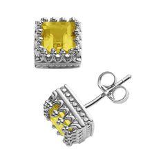 Sterling Silver Genuine Citrine Crown Stud Earrings, Women's, Orange