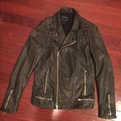 Conroy leather biker jacket Color: Anthracite. Men's 100% leather biker jacket. Made in wash and tumble lamb leather with abrasions for a vintage look. Worn a few times but in perfect condition. Measurements:      Shoulder to shoulder- 17 inches. Armpit to armpit- 16 inches. Shoulder to sleeve- 27 inches. Length- 27 inches. Waist when laid out flat- 18 inches. All Saints Jackets & Coats