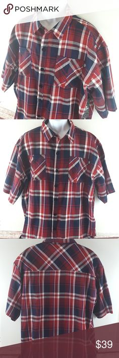 NWT Ecko Unltd Shirt Size 2X beautiful Red plaid Retails for $50  Brand: ecko unltd.  Size: Men's 2X ***PLEASE NOTE: Tag says 4XB- but it is mis-tagged! (I bought this shirt for my husband who wears a 3X thinking it would be a bit loose on him- but didn't even button up on him.) Measures as a 2X so selling as a 2X.  Style: Short sleeve button front plaid shirt  colors:Red, deep navy blue and white  material: 55% cotton 45% polyester  New with tags   Measures (Please check to ensure fit)…