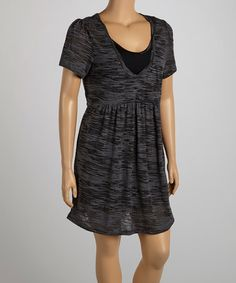 Another great find on #zulily! Charcoal Burnout V-Neck Dress - Women & Plus #zulilyfinds