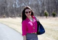 Neon pink top, striped pencil skirt