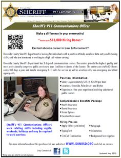 Interested in becoming a Sheriff's 911 Dispatcher? Apply now at www.JoinRSD.org!  #dispatch #job #career #men #women #sheriff #911dispatcher #riversidesheriff #lawenforcement #callcenter #computers #emergency #911 #joinrsd #RSO #RCSD #palmdesert #blythe #riverside #telephone
