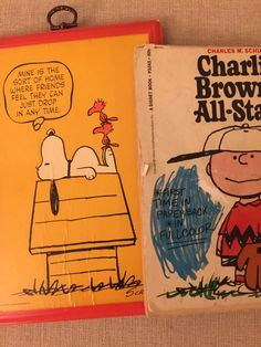 Snoopy and Charlie Brown  Vintage Plaque and by PineStreetPickers