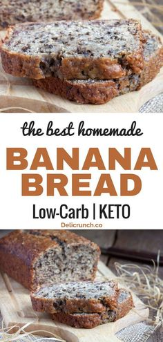 Easy and healthy banana bread recipe. Low carb and keto-friendly bread using banana, also called almond flour or coconut banana bread. Just the best and super moist! Good for snack or breakfast. food recipes The Best Low Carb Banana Bread (keto-friendly) Banana Bread Low Carb, Coconut Flour Banana Bread, Best Low Carb Bread, Homemade Banana Bread, Lowest Carb Bread Recipe, Low Carb Keto, Easy Healthy Banana Bread, Low Carb Food, Easy Bread
