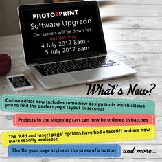 We have some great improvements AND new features to our Photo2Print software. During the upgrade you will be able to browse our website, but not create any products. We apologise for any inconvenience. #newfeatures #easiertouse