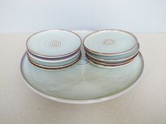 Dutch Vintage Studio Pottery Petit Four Plate Set by Zaalberg or De Rijn Spiral Pattern Mid Century Modern Minimalist by PineBook on Etsy