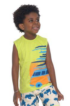 Camiseta de meia malha regata estampada. Referência: 1289 Bermuda d'água estampada com cós em elástico. Referência: 1275