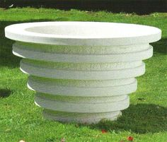 Circular stone garden planter ornament made from cement marble composite