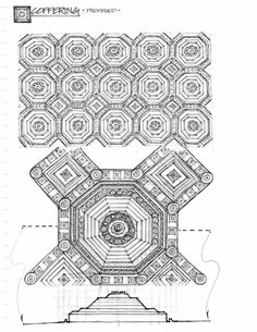 Design thesis sketchbook page - wooden coffered ceiling: plan, detail, and section (Drawn by Dave Melnychuk)