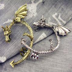 Single dragon earrings left ear without ear hole by mothersvillage, $3.99