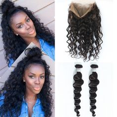 360 Lace Frontal Closure With Bundles 8A Peruvian Virgin Hair With Closure Loose Wave Human Hair With Closure Lace Frontal Weave