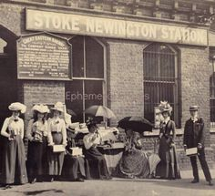 Suffragettes outside Stoke Newington Station, 1899 London History, Local History, Women In History, World History, Family History, Victorian Life, Victorian London, London Pictures, London Photos