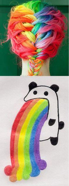 Whoa rainbow hair!!