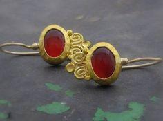 Carnelian Gold Earrings Fine Gold Earrings Bridal by Omiya