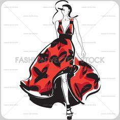Fashion illustration of an elegant women in a wavy dress. ®Yordanka Poleganova