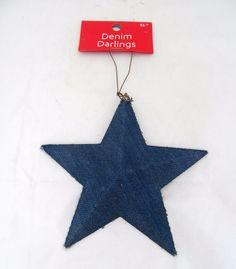 Patriotic Star Denim 4th of July Americana Country Western Primitive Ornament #DenimDarlings #4thofJulyCountryWesternCowboyChristmas