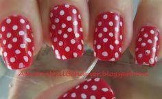 50's nail art  Polka-dots-red-and-white   http/:abnormnailbehavior.blogspot.com