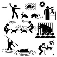 Animal Cruelty Abuse by Human Stick Figure Pictogram Icon photo