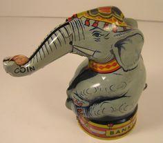 RARE VINTAGE ORIGINAL J. CHEIN 1940'S CIRCUS ELEPHANT TIN COIN BANK