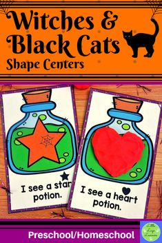 Do you have children in your class who are at different stages of learning? Are you teaching one theme that you want all of your kids to have access to with shapes? This Witches Preschool Shapes, Numbers Preschool, Preschool Math, Maths, Halloween Math, Halloween Activities, Halloween Witches, Cat Activity, Vocabulary Cards