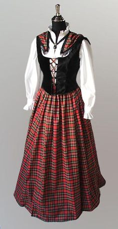 Costume idea Traditional Scottish Dress Chemise Bodice Ensemble Tartan Plaid Four Pieces Tartan Dress, Tartan Plaid, Scottish Dress, Scottish Costume, Scottish Fashion, Scottish Tartans, Scottish Plaid, Renaissance Clothing, Period Outfit