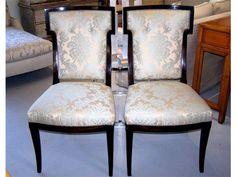 Pair of Andre Arbus for William Switzer silk brocade dining chairs.