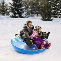 Double your fun with this inflatable tube. Equipped with 4 molded handles and an adorable penguin design, you'll have a blast gliding down snow-covered hills. Christmas Tree Store, Cute Penguins, Tube, Winter Jackets, Snow, My Favorite Things, Winter Coats, Human Eye